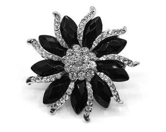 Black Crystal Rhinestone Silver Brooch Wedding Accessories Bridal Brooch Bouquet DIY Crafts