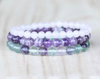 Self-Love Bracelet Stack. Amethyst Bracelet, Rainbow Fluorite Bracelet, and Rose Quartz Bracelet Set. Yoga Bracelet Set. Stretch Bracelets.