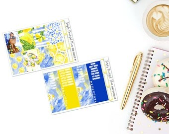 Main Squeeze | Full Planner Sticker Kit | Erin Condren & Happy Planner | Lemon and Navy