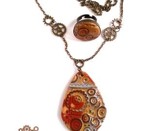 Steampunk Jewelry Set. Steampunk Jewelry. Steampunk Necklace. Steampunk Pendant. Steampunk Ring. Gears. Bronze