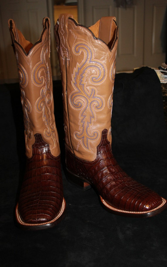 lucchese chocolate brown crocodile boots size 9b