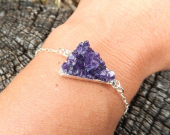 Raw Purple Amethyst Triangle Druzy Bracelet Sterling Silver Chain Cluster Rock Crystal Silver Electroplate Free Shipping Jewelry