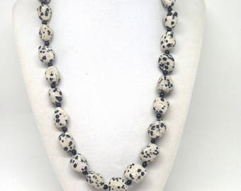 Gorgeous and Unique Estate 925 Sterling Silver Dalmatian Jasper Onyx Necklace and Bracelet Set
