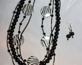 Black and Zebra Jewelry Set