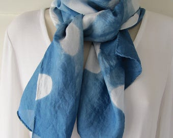Hand-dyed habotai silk scarf, 10 x 58 inches, indigo, itajimi shibori