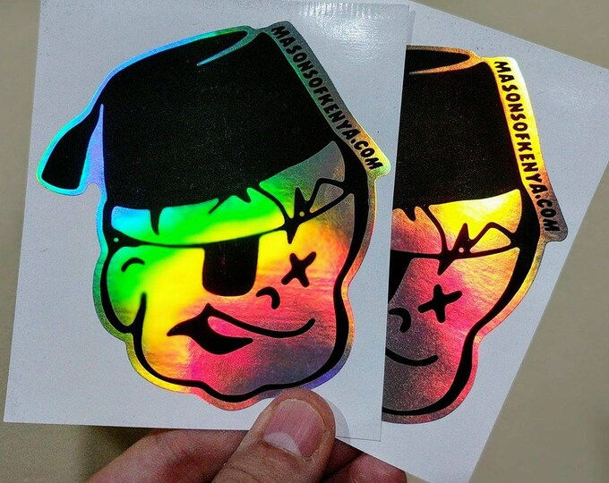 Li'l Mason Hologram Eggshell Stickers X 2