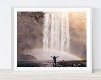 Waterfall Photo, Waterfall Print, Nature Photography, Landscape Photo, Nature Print, Nature Poster, Rainbow Print, Rainbow photo, #NC21