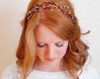 christmas headband women, adult christmas headband, red and green hair band, christmas hair accessories, sequin hair bands, cocktail hair