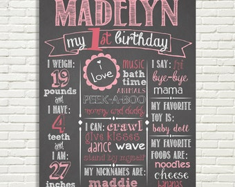 "Girls First Birthday Chalkboard Sign 16x20"" Poster Light Pink, Hot Pink, 1st Birthday *Choose Your Own Colors*  Digital File ONLY"