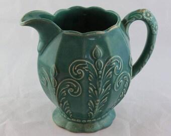 6 Inch high Aqua Glazed Pottery Pitcher