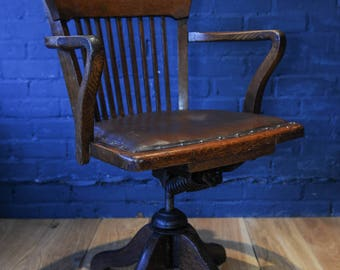 Victorian Oak Industrial desk Arm Chair  raised on swivel supports - 1800's (shipping not included)