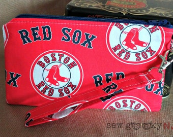Boston Red Sox Wristlet -  BoSox Wallet - MLB Zippered Pouch - Clutch - Gift - Quick Shipping - OOAK - Custom Made