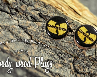 """Wu-Tang clan plugs - wooden plugs - wood ear plugs - ear gauges -wood plugs with image - printed plugs - size 10mm to 70 mm/ 3/8'' to 2 3/4"""""""