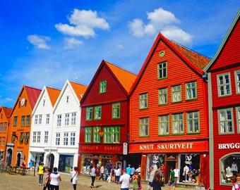 Bergen Wharf Print, Norway Photography, Photographs for Hanging, Red Wall Art, Blue Decor, Norwegian Art, Bright Colors, Bold Art - Bryggen