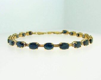 40% Off GOLD SAPPHIRE BRACELET, 10 Gold Royal Blue Sapphire Bracelet