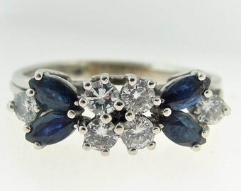 Vintage Victorian Inspired Sapphire And Diamond Ring- 14k White Gold