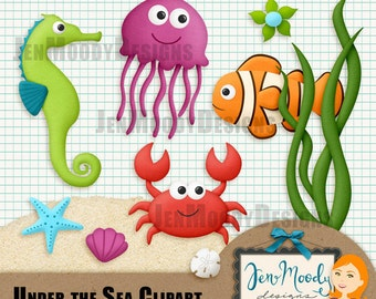 Instant Download: Under the Sea Clipart Element Pack, 3D / Beveled and Textured - Printable, Great For Scrapbooking, Personal Use Only