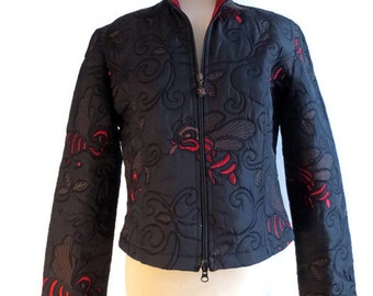 Joseph Ribkoff blazer, black and red vintage jacket from the 1990's