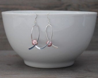Sterling Silver Breast Cancer Awareness Earrings with Dusty Rose Pink Swarovski Pearl; Ribbon; Roseline