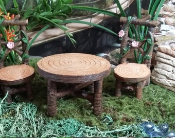 Fairy Garden Miniature Flower Table U0026 2 Chair Set (Resin) For Your Fairy  Garden,Fairy Garden Accessories, Fairy Furniture, Wood Look