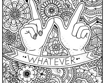 WHATEVER Coloring Page Book Pages Printable Adult Hand Drawn Doodle