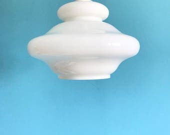 Vintage White Glass Pendant Light // Milk Glass Pendant Light // Hanging Light // 1970s // Chandelier // Kitchen Hanging Light//
