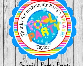 Summer Pool Party Stickers, Pool Party Stickers, Pool Party Thank You Stickers, Birthday Stickers, Printed and Shipped