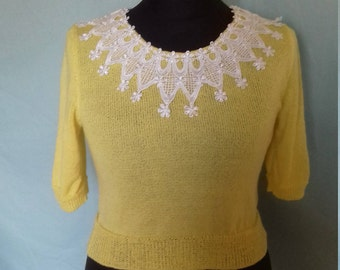 Handmade knitted reproduction vintage jumper with off white/ivory guipure lace collar to front and back.