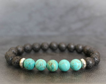 Mens Beaded Bracelet Mens Turquoise Bracelet Turquoise Bracelet Mens Lava Bracelet Lava Bracelet Lava Stone Bracelet Black Lava Bracelet