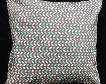 Grey Pillow Cover, Throw Pillow, Grey Print Pillow Cover, Decorative Pillow, Home Decor, Grey Turquoise Pillow, Pillow Covers, Pillow,