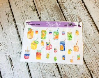 Decor Fruity Mason Drinks - Drink Stickers - Fruit Drinks - Water Stickers - Water and Fruit - Mason Jar Stickers - Decorative - Stickers
