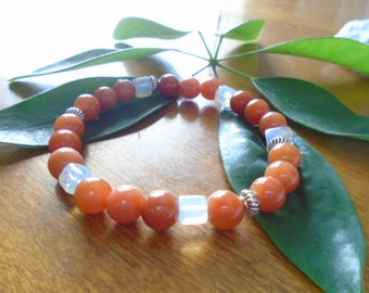 Carnelian & Moon stone bracelet, Mala Bracelet, Healing Bracelet, Gemstone Bracelet, Carnelian 8 mm