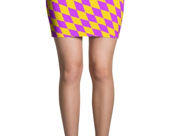 Mardi Gras Skirt - Diamond Checkered Mardi Gras Mini Skirt - Mardi Gras Costume - Yoga Leggings - Patterned Skirt - Print Skirt