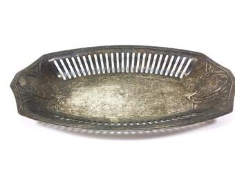 Vintage bread basket fruit bowl Bowl bread shell silver plated breakthrough Art Nouveau ornaments