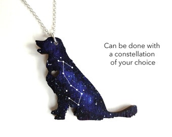 Custom Space Universe Galaxy Dog Labrador Hand Painted Pendant Necklace With Horoscope Constellation
