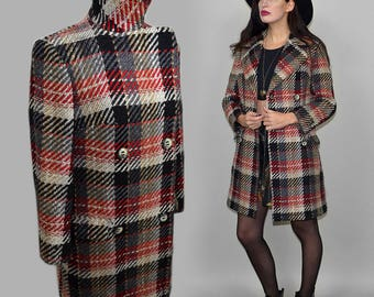 Vintage Tartan Plaid Pea Coat Double Breasted Military Jacket Wool Blanket Paris Caban Fuzzy Blanket Mohair High Turtle Neck Collar Check M