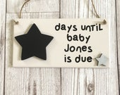 Baby Countdown Plaque  Pregnancy Gift  Pregnancy Countdown  Baby Countdown Sign  Baby Shower  Wall Art  Home Decor