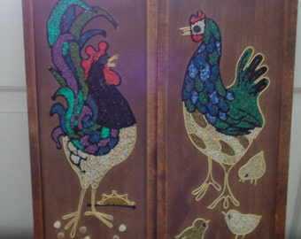 Vintage Rooster and Chicken Pebble Art, Gravel Art, Country Kitchen Decor, Wall Decor