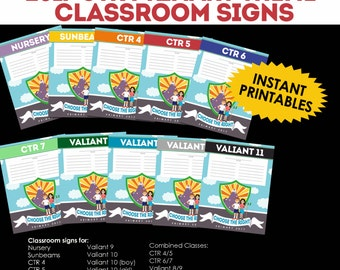 """2017 LDS Primary Theme """"Choose the Right"""" CTR Classroom Door Signs"""
