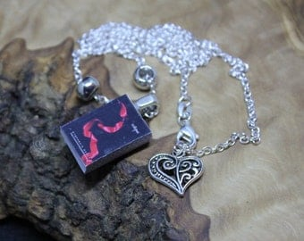 Hand made, Unique, Miniature Book Necklace, Twilight Saga *Eclipse* with real pages.