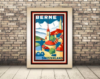 High Resolution from a Vintage Travel Poster Berne in Switzerland, Europe. Wall Art or Home Decor for Traveler. Villa Seaside Switzerland
