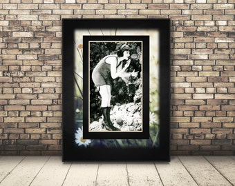 High Resolution Digital Downloadable Poster of Black and White Photograph of 1920's Bathing Suit Flapper. Wall Art or Home Decor.