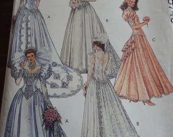 McCalls 5746 Women's Vintage Elegant Wedding Gowns Sewing Pattern