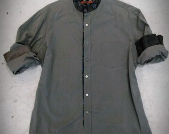 Man shirt remake size L 50 regular cotton mandarin collar mother of pearl buttons