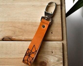 Leather Keychain with geometric pattern, Leathe Keyholder