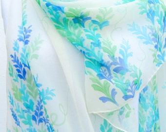 Chiffon silk scarf Wedding Hand painted in blue turquoise mint ivory white. Bridal floral romantic handpainted scarf, elegant and delicate .