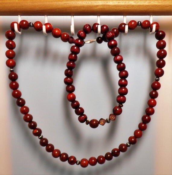 Rosewood Beaded Men's Choker and Bracelet Set