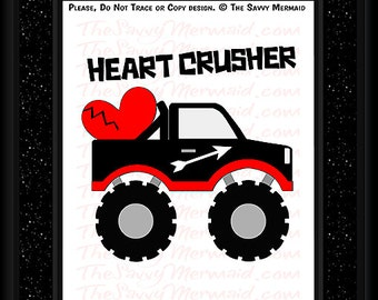 Boys Valentine's SVG file- Valentines Truck SVG cut file- Monster Truck Svg- Cricut Valentine Svg files for Shirts- Silhouette Vinyl HTV
