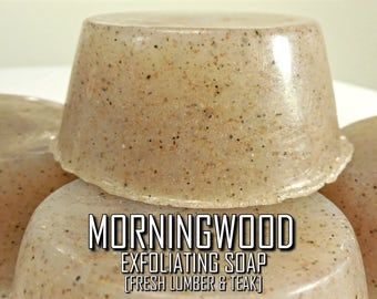 BACK IN STOCK! Morningwood | Pure Fresh/Teak/Musk-Scented Nourishing Exfoliating Men's Masculine Luxury Bar Soap with Emu and Olive Oils