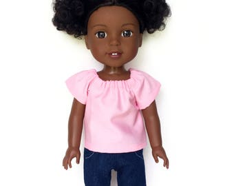 Peasant Top, Pink, 14.5 inch, Fits dolls such as AG Wellie Wishers Doll Clothes, Free Mini Skirt with the Purchase of 3 WW Peasant Tops